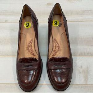 Sofft Brown Penny Loafer Heels Size 9N